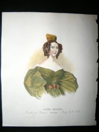 Dona Maria, Queen of Portugal 1833 Antique Hand Col Portrait Print